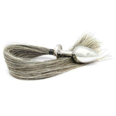 Rosebuds horse tail butt plug in large with grey hair