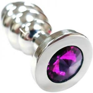 Rouge Threaded stainless steel butt plug with purple gem