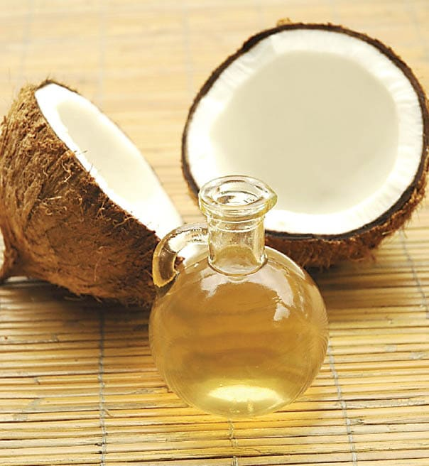 Cracked cocnut with raw coconut oil