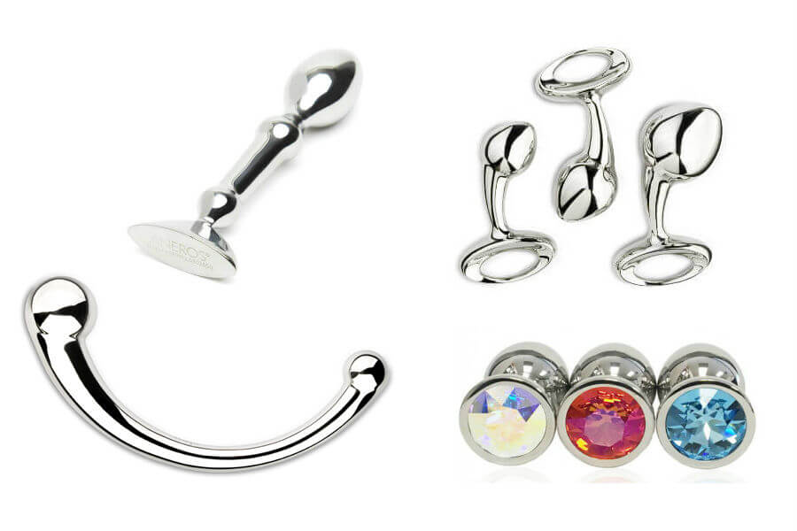 Examples of stainless steel and aluminum sex toys and anal plugs