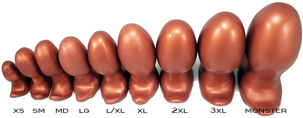 All 9 sizes of the Egg Plug, from extra-small to the XXXL Monster
