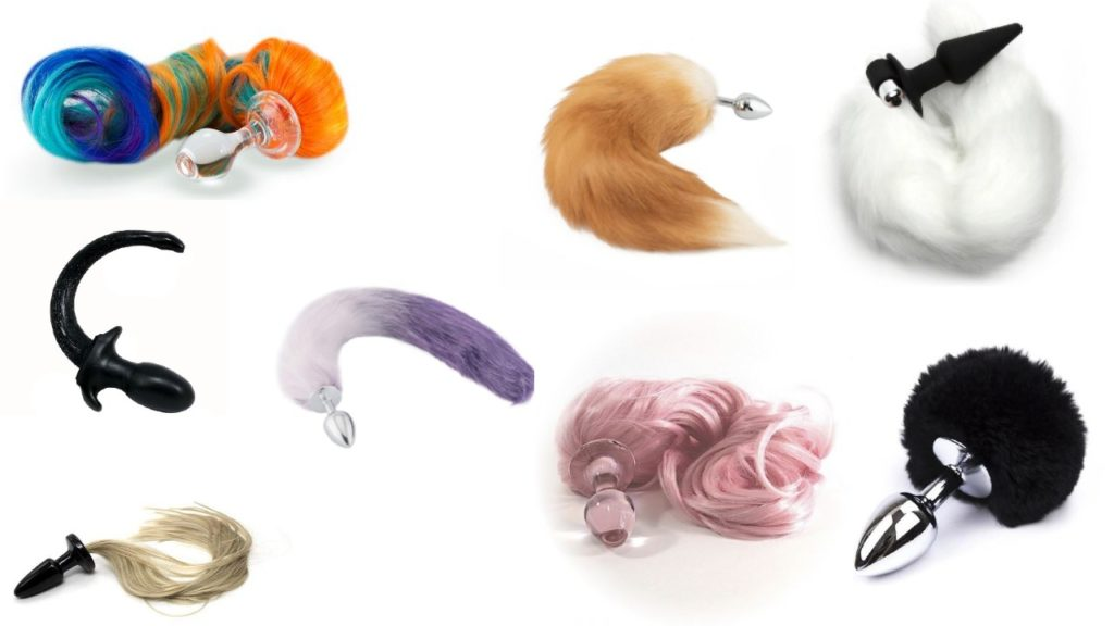 Collection of fox, pony, rabbit, and cat tail butt plugs