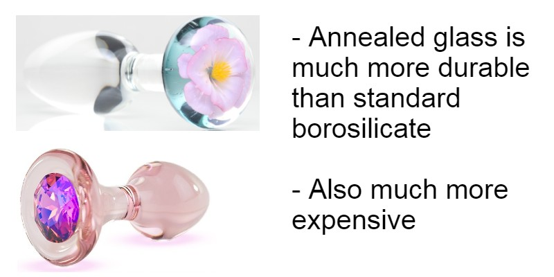 Annealed glass butt plugs