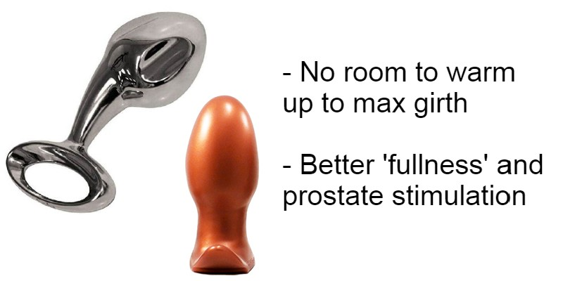 Examples of thick, bulbous butt plugs