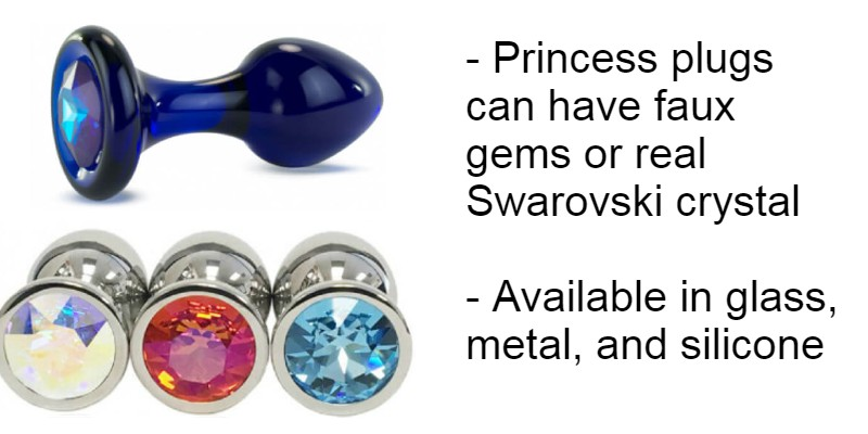 Jeweled and gemmed princess butt plugs